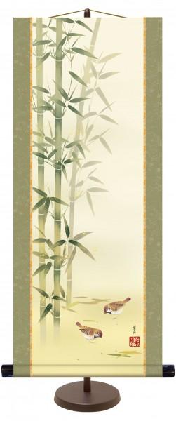 Kakejiku Rollbild TAKENI SUZUME Spatzen Bambus
