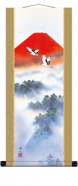 Kakejiku Rollbild AKAFUJI SOUKAKU roter Fuji Kraniche