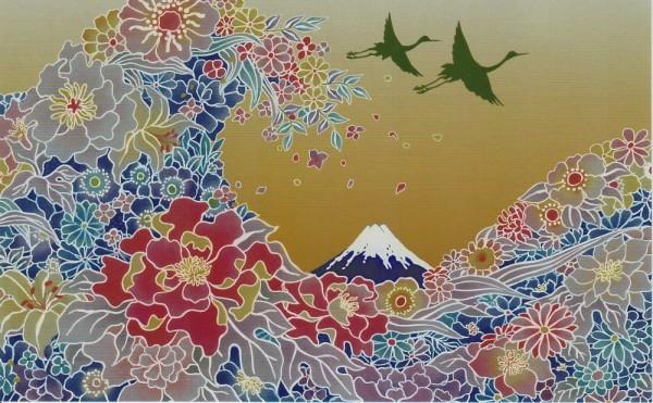 Japanische Grußkarte OONAMI große Welle vor Kanagawa