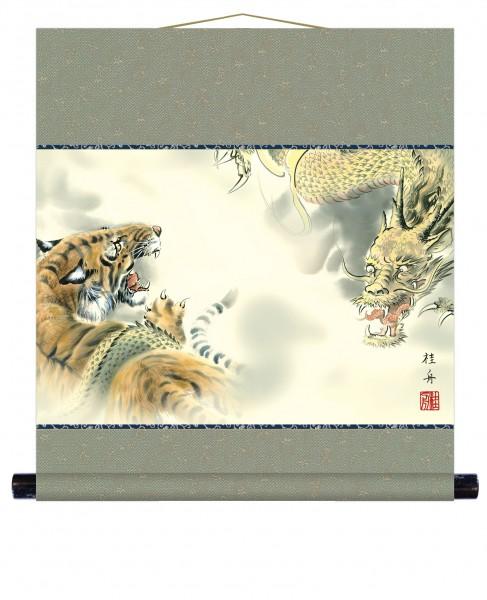 Kakejiku Rollbild RYUKO Drache Tiger