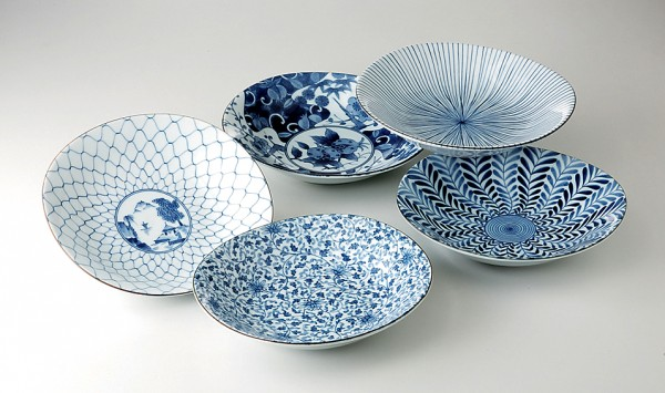 Japan Teller-Set TAYOZARA blau
